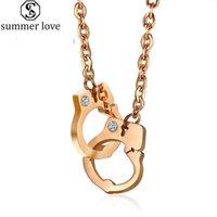 Cadeia Trendy algema Pendant Colar Rose Gold Rhinestone Clavícula colares para Mulheres Moda Neck jóia como presente do dia-Z Namorados