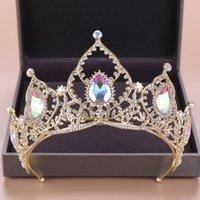 Barocker Luxus Braut AB Kristallkronen Tiara Braut Gold-Stirnband-Hochzeit Diadem Königin Kronprinzessin Haarschmuck
