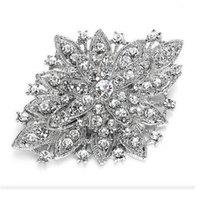 Pins Argento look vintage placcato Rhodium libero di cristallo del Diamante Bouquet Spilla Pin del partito di promenade