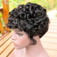 Pizzo ricci di Charme Capelli corti ricci parrucca Bob naturale di Remy del brasiliano Pixie Cut parrucche per donne di colore macchina fatta parrucca non con la frangetta