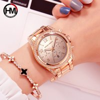 Dames calendrier rose montre-bracelet incrusté de diamants d'affaires de la mode or transfrontalière montre de mode de bande en acier à quartz