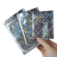 Usealable Запах Дозадающийся пакеты фольги сумка сумка плоский майлар для вечеринки для вечеринки для хранения еды голографический цвет с блеском звезды