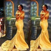 アラビアのセクシーな黄色のサテンのイブニングドレスを着用する人魚の肩のレースのアップリケクリスタルビーズプラスサイズのプロムのドレスパーティーローブデオスイー