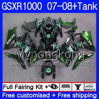 Kit + Tanque para SUZUKI GSX R1000 GSXR-1000 GSXR 1000 2007 2008 301HM.57 GSX-R1000 07 08 Cuerpo BACARDI murciélagos calientes K7 GSXR1000 07 08 Carenado 7Regalos