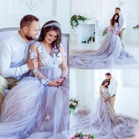 Lavanta Ülke Bir Çizgi Gelinlik Uzun Kollu 3D Çiçek Aplikler Annelik Gelinlik Artı boyutu Gelinlik Plaj cübbesi de mariée