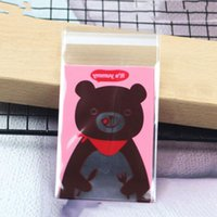 100pcs Cartoon Candy Packing Bear Cookies Bag Print Gift Bag...