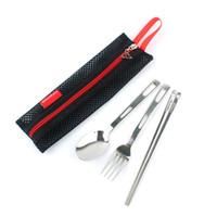 3pcs / set cubiertos de acero inoxidable palillos de cucharas tenedores Conjunto al aire libre cubiertos vajilla portable Vajillas Juego de Bolsa de almacenamiento Paquete FFA2734-1