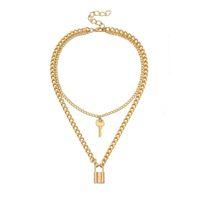 moda takı kadın kolye aşk kilit kolye moda kolyeler katmanlı Tuş kilidi kolye gerdanlık altın zincirler