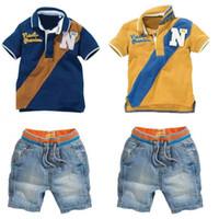La moda de verano para bebés varones es un juego de camisa para niños + pantalones cortos ajustados para niños ropa para niños traje