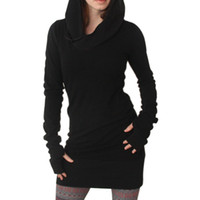 CHAUD Femmes Automne Robe Hoodies Pull Manches Longues Slim Fit Noir Minimaliste Robes 19ING