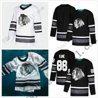 Pas cher 2019 All Star Jerseys Hommes 88 Patrick Kane Chicago Blackhawks Noir Blanc Blank Top Qualité Hommes 2019 All-Star Patch Maillot De Hockey