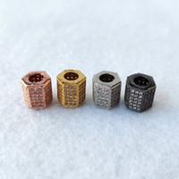 수제 보석 팔찌 보석 만들기의 매력 스페이서 비즈 DIY 액세서리 CT540에 대한 기하학적 CZ 지르코니아 비즈