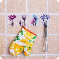 3 / modello 4PCS Fiore domestica Unico stampa Porta Hook libero Punzonatura No Trace Gancio per Wall Hanging Bathroom Door