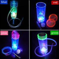 Renkli LED Cam Tek Hortum Nargile Shisha Renkli Mini Cam Bongs Su Boruları Nargile Shisha Bong 1 Hortum Uzun Komple 7 inchs ayarlar