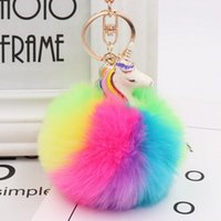 Metal Alloy Rainbow Color Unicorn Decor Fluffy Faux Fox Fur ...