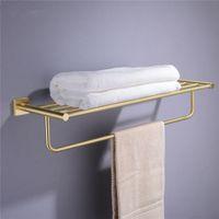 욕실 하드웨어 설정 솔질 골드 로브 후크 수건 레일 바 선반 종이 홀더 벽 마운트 욕실 액세서리 랙
