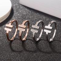 ارتفعت الحب أزياء المجوهرات S925 الخواتم الفضة الاسترليني بالنسبة للنساء خواتم الماس مفتوحة الذهب إلكتروني T أسلوب خاتم الزواج