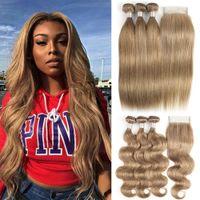 Kisshair Color 8 Brown Brown Brown Blonde Brasiliano Body Body Wave Bundles diritti diritti con chiusura 100 Estensione dei capelli umani