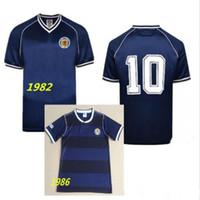 1982 İskoçya Futbol Jersey Home Mavi 82 Dışarıda Sarı 86 Dalglish Strachan Miller Souness Hansen George Ahşap Futbol Gömlek S-XXL