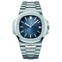 디자이너 방수 날짜 시계 남성 자동 럭셔리는 5711 실버 스트랩 블루 스테인레스 망을 기계 orologio 디 Lusso를 손목 시계 시계