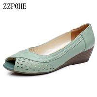 Elbise Ayakkabı ZZPOHE 2021 Yaz Kadın Hakiki Deri Casual Kadın Takozları Açık Toe Anne Artı Boyutu Sandalet