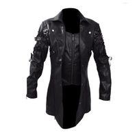 Erkek Ceket Moda Vintage Deri Ceket Biker Motosiklet Fermuar Uzun Kollu Ceket Üst Bluzlar Yüksek Kalite Erkek Palto Yeni