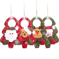 Decoração da árvore de natal feliz não tecido natal santa boneca boneco de neve urso cerveja pendurado brinquedo xmas enfeite de árvore pingente dbc vt0748