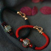 المجوهرات الصينية الأساور عقدة زوجين سلسلة الحمراء اليشم الخرز الأساور للأزواج بالجملة الأزياء الساخن