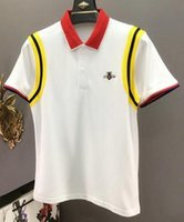 Polo camisa dos homens da roupa de forma Bee Imprimir listrado luva homens do algodão sólida T-shirt Casual Europeia Designer Slim Fit Polo Tamanho M-3XL