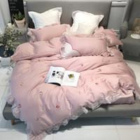 Pink Princess assestamento 4pcs ha fissato cotone completa copertura della trapunta letto adatto Scheda sveglia per i regali delle donne delle ragazze di trasporto Home Textile