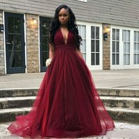 2019 Modest Burgundy Prom Dresses A Line Deep V Neck Lace Se...
