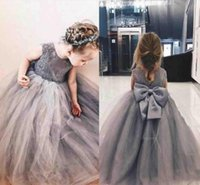 2019 Grey Princess Flower Girl Dresses Jewel Big Bowl Lace A...