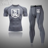 Mens Sport Costume Justice League Courir Vêtements pour Hommes court compression Collants manches Gym Fitness T-shirt court Quick Set sec