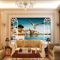 benutzerdefinierte größe 3d fototapete wohnzimmer mural fenster taube see gebäude 3d bild sofa TV hintergrund tapete vlies wandaufkleber