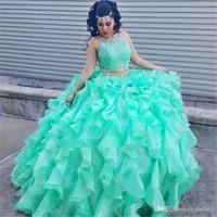 2019 새로운 섹시한 민트 그린 공 가운 2 피스 Quinceanera 드레스 Organza ruffles 댄스 공식 가운 파란색 레이스 보석 Quinceanera 드레스