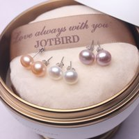 925 Gümüş Takı Doğal İnci saplama Küpe Kadınlar Düğün Hediyeler için 925 logolu