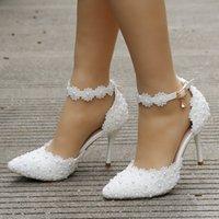 مضخات جديد أزياء المرأة لؤلؤة الزفاف الدانتيل الأحذية مأدبة الزفاف الأبيض الوردي حزام الكاحل الأحذية واحدة