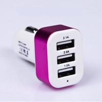 Carregador de carro de alta qualidade 3 porta USB para iPhone SAMSUNG HUAWEI Universal de carregamento adaptadores DHL grátis