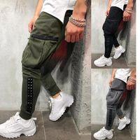 2019 Nouveau Pantalon Hip-Hop Casual Patchwork Lâche En Cuir Hommes Workout Gris Pantalon Noir Plus La Taille M-3XL