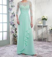 Una línea de gasa madre de la novia vestidos de la cucharada de la cremallera con botones de nuevo la longitud del piso de los plisados elegantes vestidos de noche formales