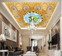 Murales de plafond 3D Fond d'écran Personnalisé Photo Européenne Golden Modèle de luxe Fond Maison Décor Salon Fond d'écran pour les murs 3 D