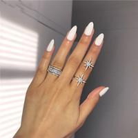 Choucong Victoria Wieck Jewelry di lusso 925 Sterling Silver Star Pave Bianco Sapphire CZ Diamante Eternity Donne Donne Bridal Anello da sposa Set regalo
