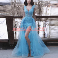 Sexy Com Decote Em V Azul 2k19 Dubai Vestidos de Baile Rendas Applique Alta Dividir Disse Mhamad Plus Size Vestido Longo Festa de fiesta Baratos Vestidos de Noite