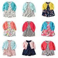 Çocuklar Kız Giyim Setleri Sonbahar Bahar 2021 Uzun Kollu Hırka Ve Pamuk Çiçek Kıyafetler 3 Tasarım Stil Bebek Kız Iki Parçalı Elbise Suits 18013101