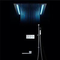 Lujo Electricidad Poder Juego de ducha de techo Empotrado en el techo Función 4 ShowerHead Ducha de lluvia grande Spa Sistema de ducha de masaje 360 * 500