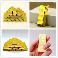 Gold bar Brick Shaped Grinding Cigarette lighter Ultra thin ...
