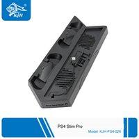 Alta qualidade controlador duplo Dock Station Carregador HUB Para PS4 Magro Pro PS4 Magro / Pro ultrafinos carregamento dissipador de calor Suporte Vertical Cooling Fa