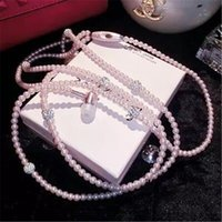 Luxury Rhinestone Jewelry Pearl Necklace Earphones With Micr...