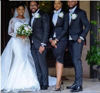 Robe de mariée de sirène de la dentelle de printemps dentelle avec manches de train détachable jewel col blanc africain nigérian dentelle robe de mariée 2020