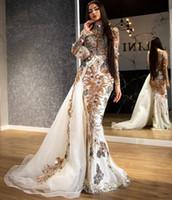 2020 Árabe ASO EBI LAXUSE LACE Frisado Vestidos de Noite Pescoço Pescoço Vestidos de Prom Sereia Partido Formal Segundo Vestidos de Recepção ZJ225